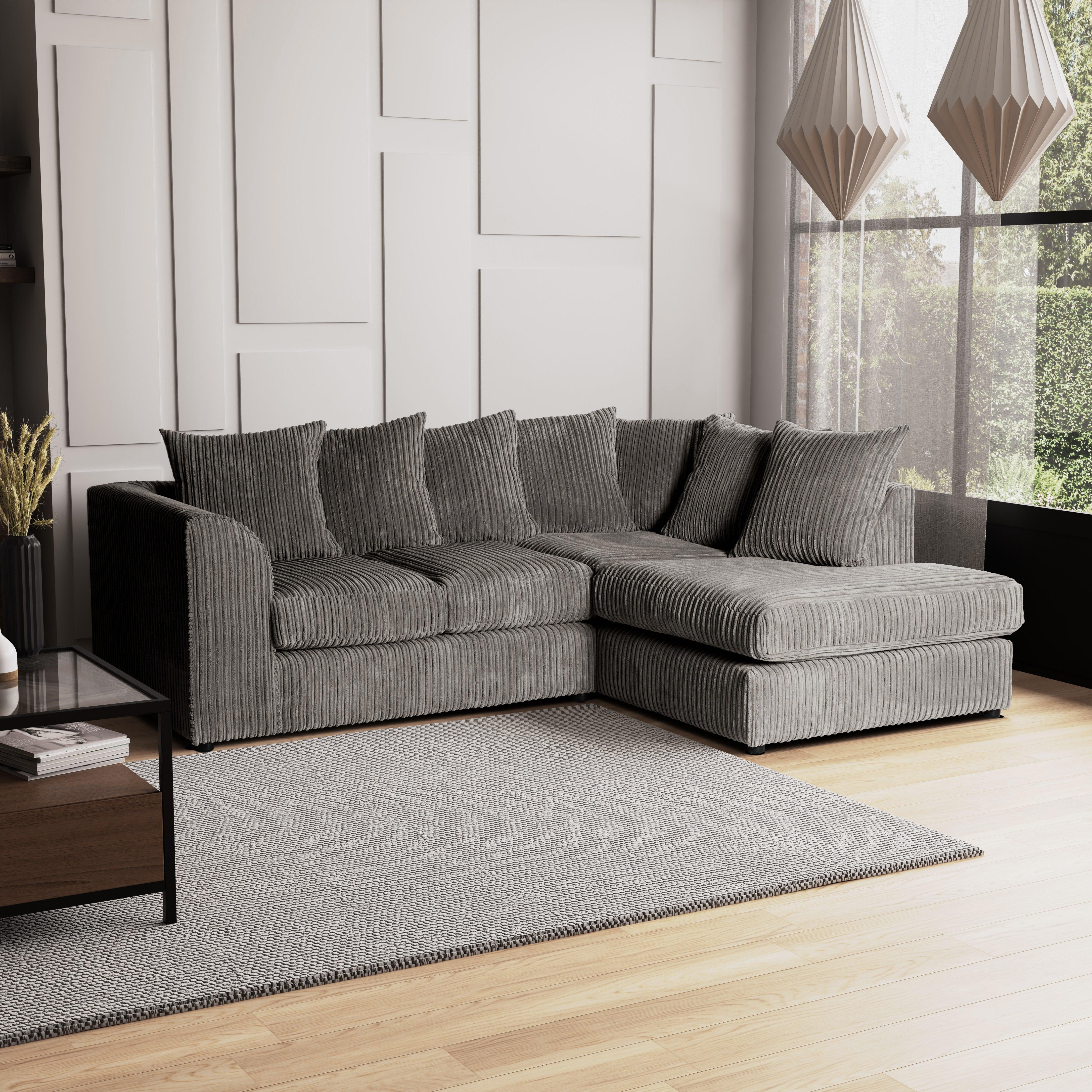 Blake Jumbo Cord Right Hand Corner Sofa Grey