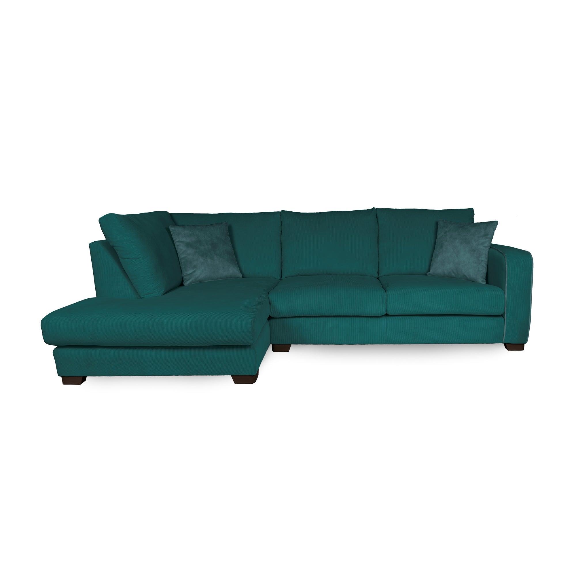 Carson Corduroy Left Hand Corner Sofa Emerald Green