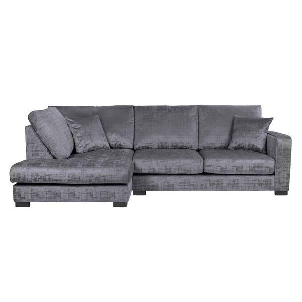 Carson Distressed Velvet Left Hand Corner Sofa Grey