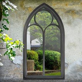 Gothic Black Stone Outdoor Mirror
