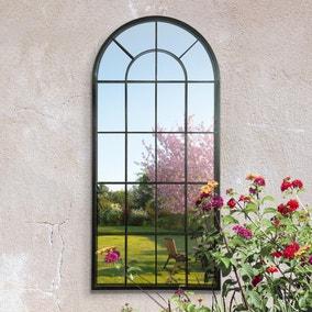 Lotus Antique Black Outdoor Mirror