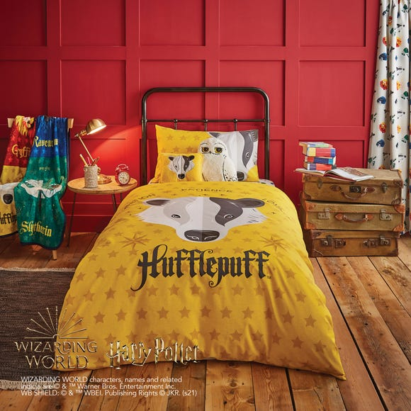 Harry Potter Hufflepuff House Reversible Duvet Cover and Pillowcase Set  undefined