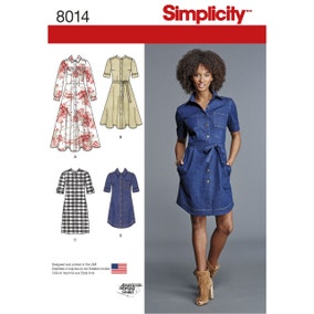Simplicity 8014 Womens Shirt Dress Sewing Pattern