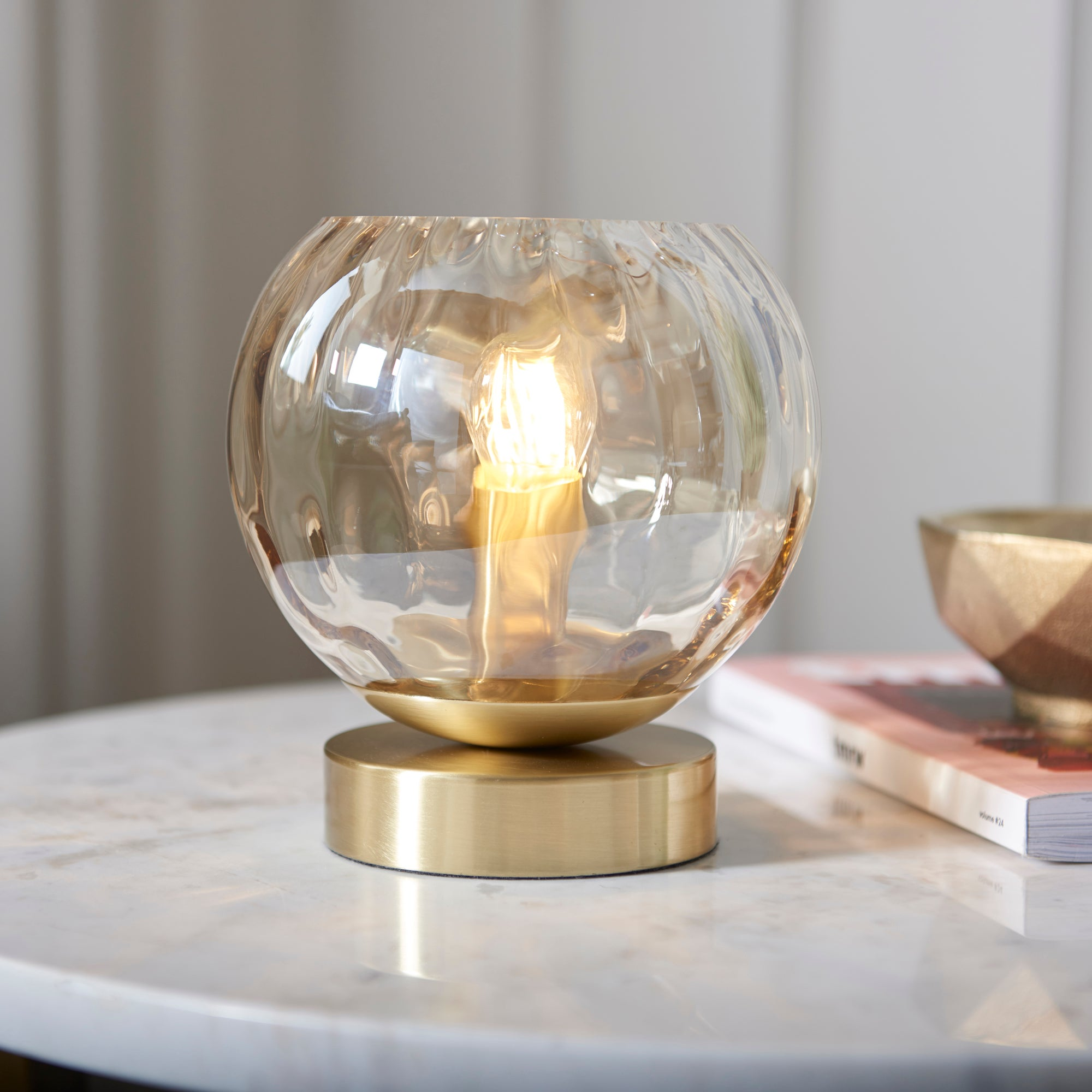 Vogue Arkoma Glass Table Lamp Brass