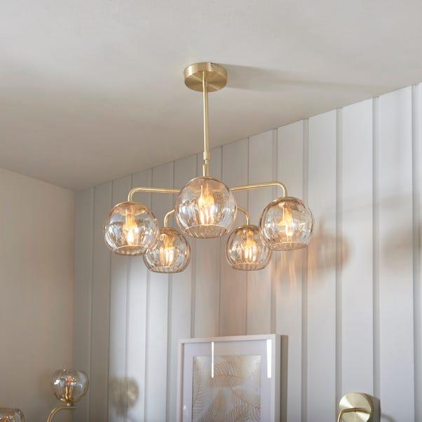 Vogue Arkoma Glass 5 Light Chandelier Brass