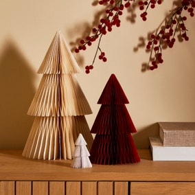 Set of 3 Red and White Paper Trees