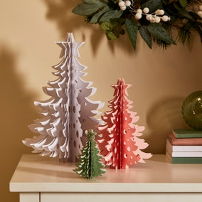 Set of 3 White and Pink Ringlet Trees