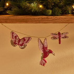 Pink and Gold Hummingbird, Butterfly and Dragonfly Garland