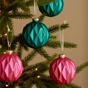 Pack of 4 Teal and Fuchsia Facet Glass Baubles