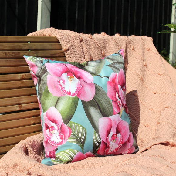 Orchids Outdoor Cushion Duck Egg (Blue) undefined