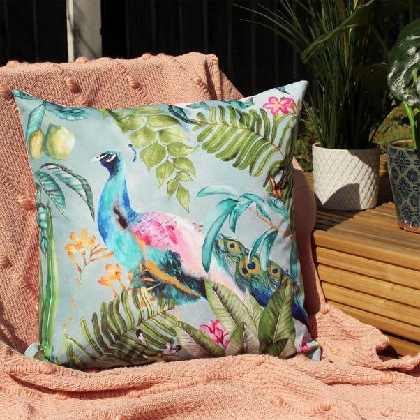 Peacock Multicoloured Outdoor Cushion MultiColoured undefined