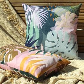 Leafy Teal Outdoor Cushion