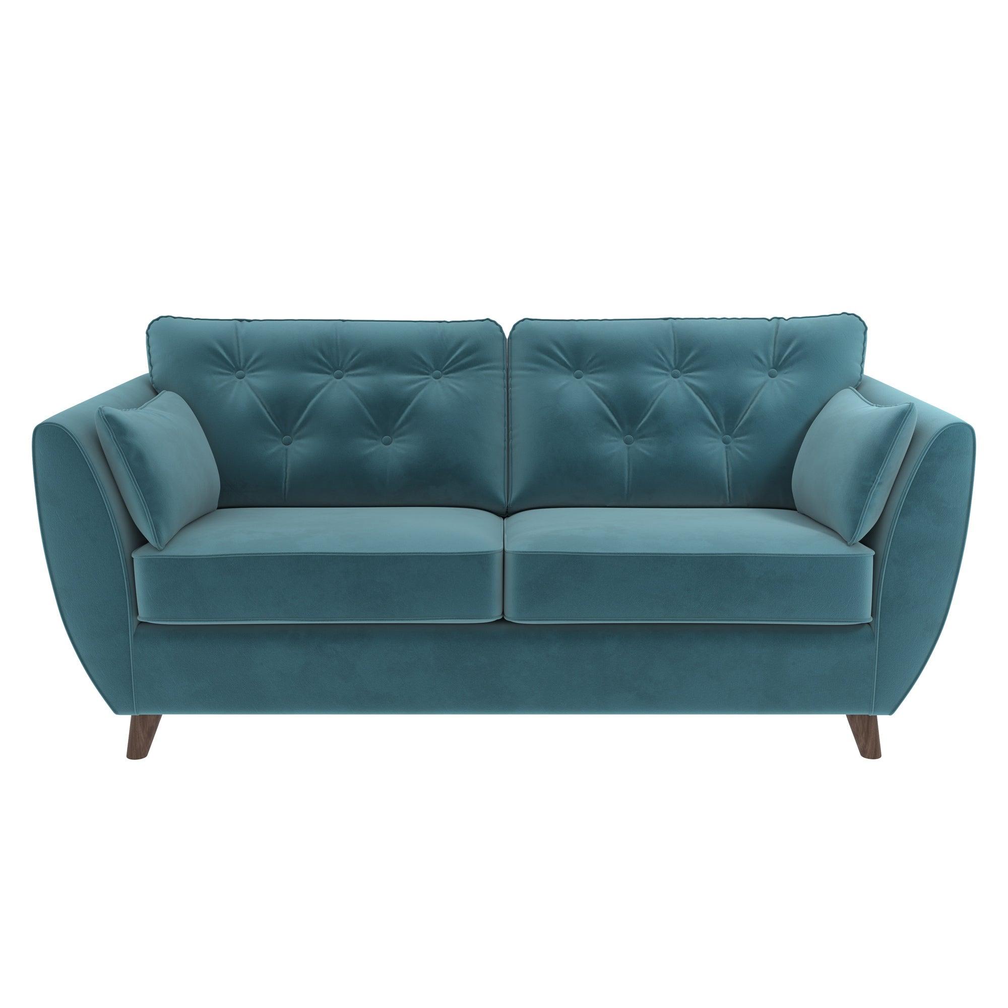 Dalston Velvet 3 Seater Sofa Teal (Blue)
