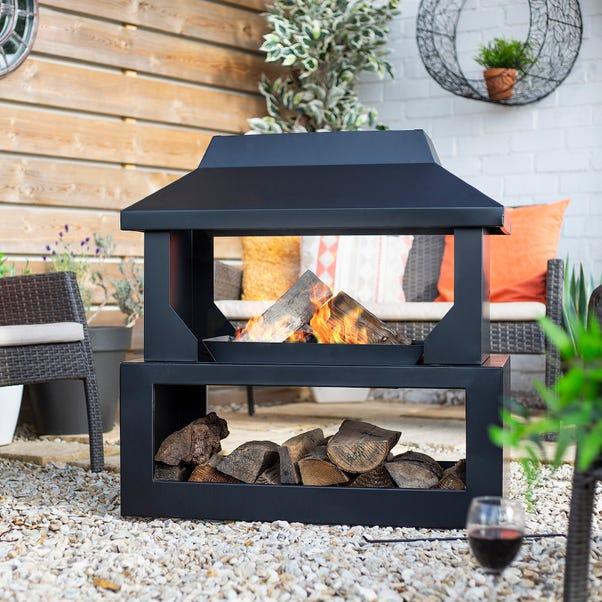 Outdoor Log Burner Black