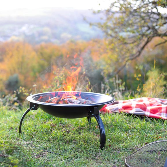 Camping Steel Fire Pit Black