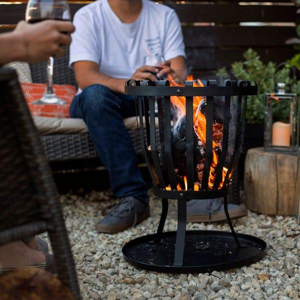 Traditional Steel Fire Basket Black
