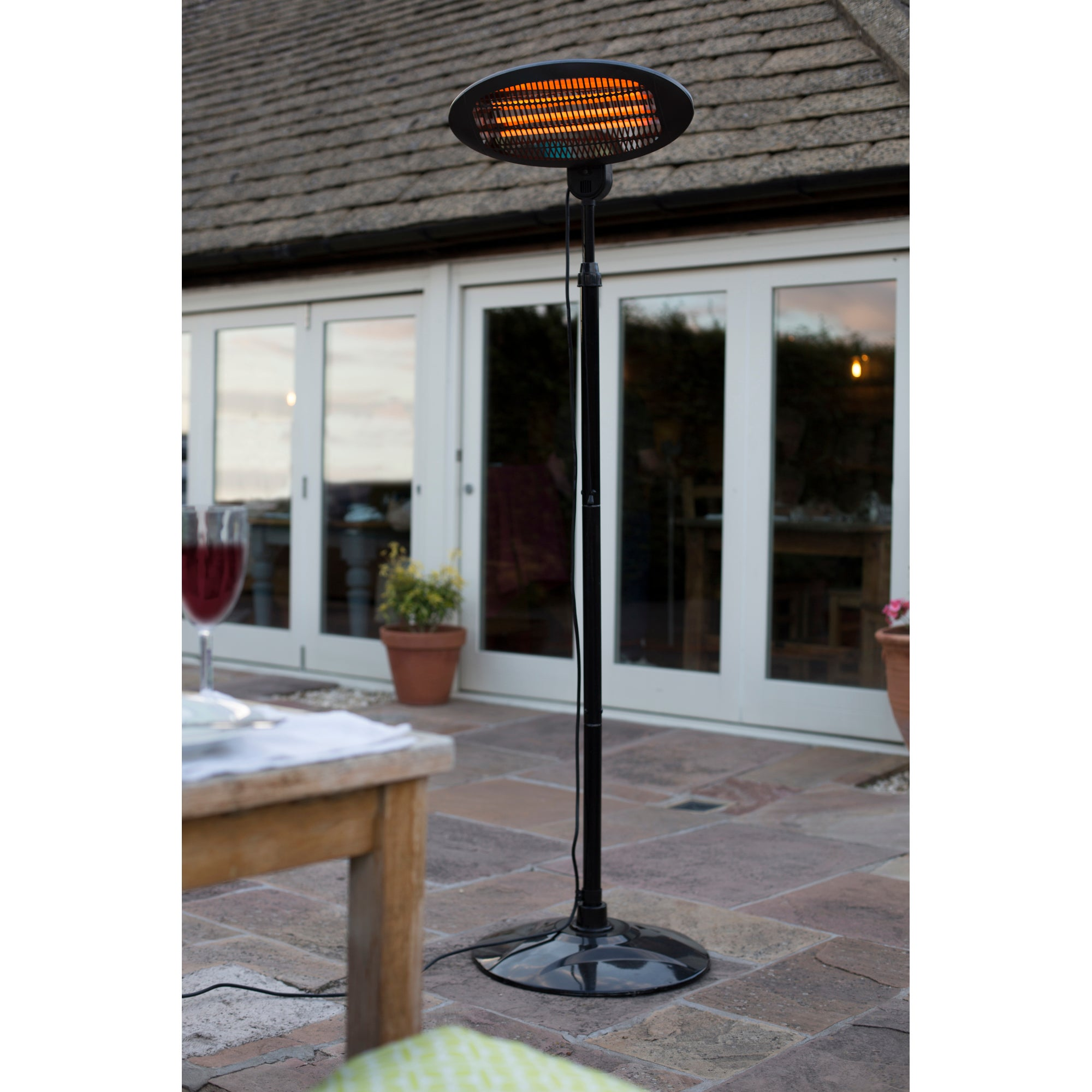 Electric Free Standing Patio Heater Black