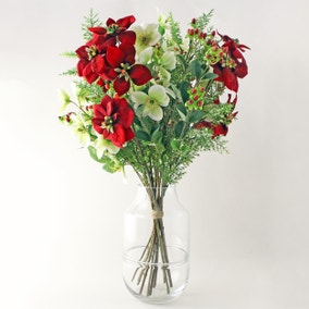 Poinsettia Hellebore and Foliage Bouquet