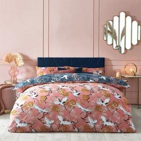 Demoiselle Blush and Navy Duvet Cover and Pillowcase Set