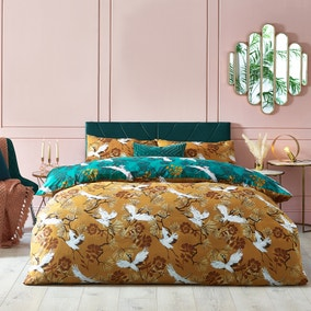 Demoiselle Mustard and Teal Duvet Cover and Pillowcase Set