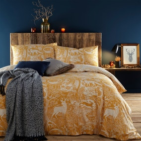 Furn. Winter Woods Ochre Duvet Cover and Pillowcase Set