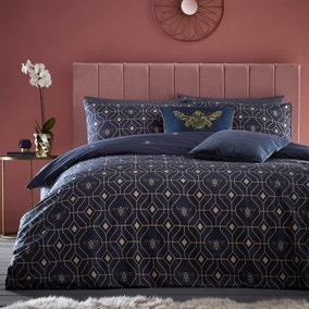 Bee Deco Navy Duvet Cover and Pillowcase Set