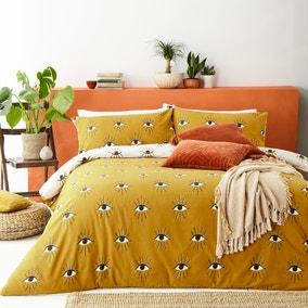 Furn. Theia Ochre Duvet Cover and Pillowcase Set