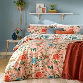 Furn. Azalea Pink Floral Reversible Duvet Cover and Pillowcase Set