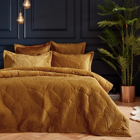 Paoletti Palmeria Gold Embroidered Reversible Duvet Cover and Pillowcase Set