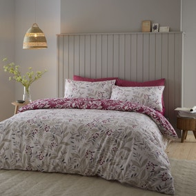 Catherine Lansfield Lingonberry Brushed Cotton Floral Duvet Cover and Pillowcase Set