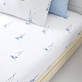 Bianca Fine Linens Sailing Boats 100% Cotton Fitted Sheet