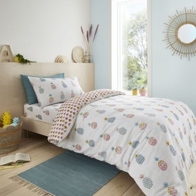 Pineapple Elephant Ananas Pineapple 100% Cotton Duvet Cover and Pillowcase Set