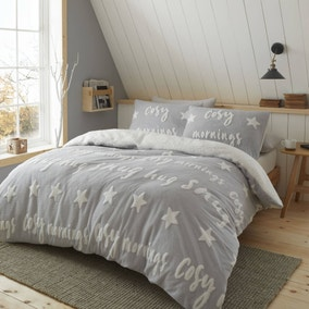 Catherine Lansfield Grey Cosy Tufted Fleece Duvet Cover and Pillowcase Set