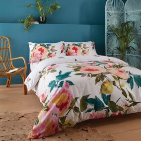 Catherine Lansfield Abstract Floral Duvet Cover and Pillowcase Set