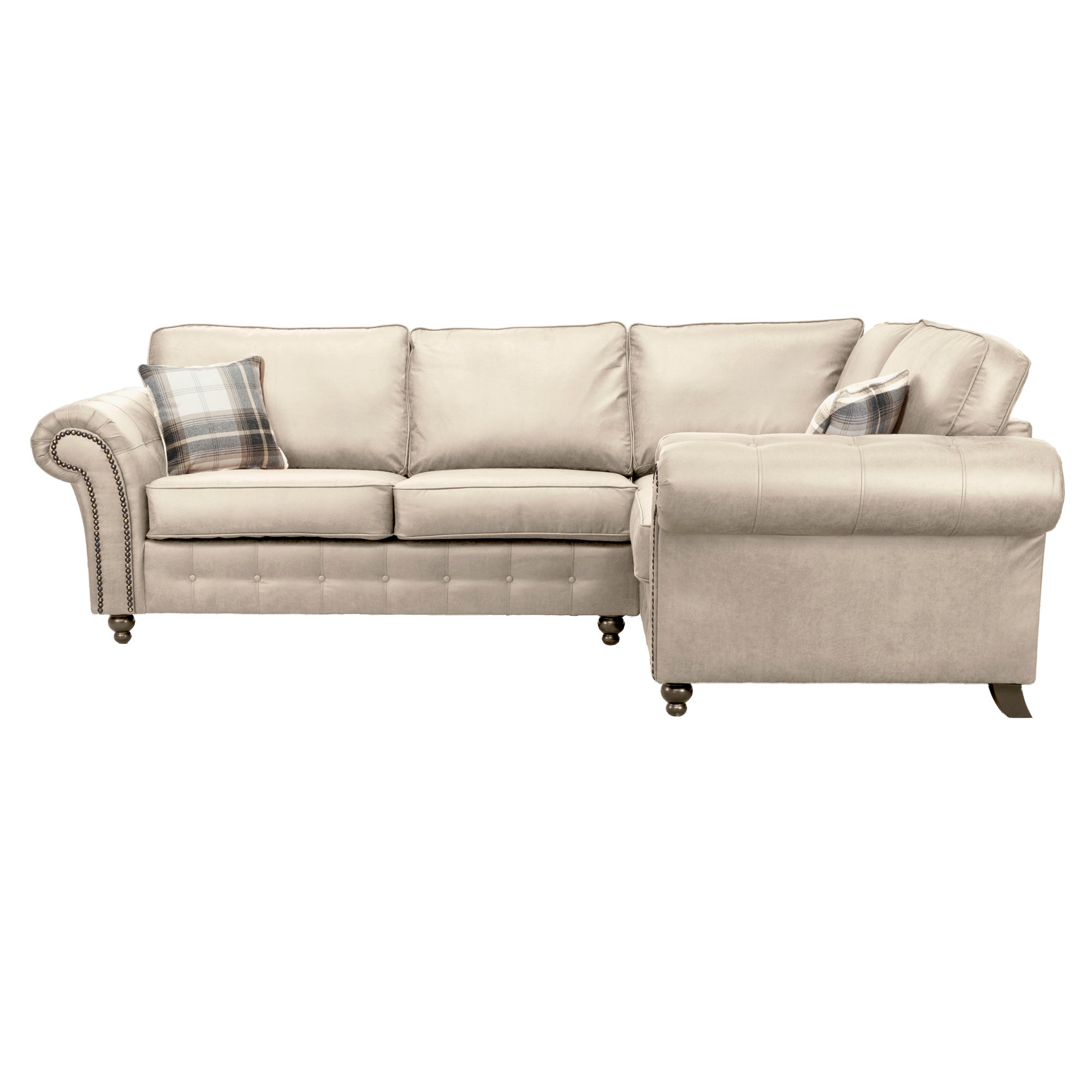 Oakland Right Hand Faux Leather Corner Sofa Beige