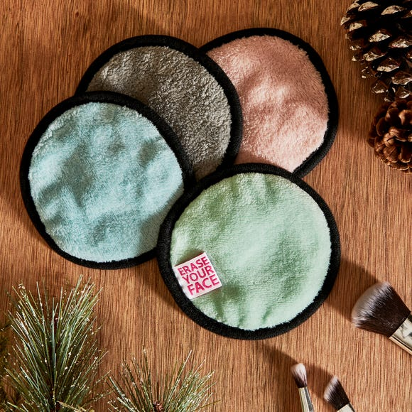 Pack of 4 Erase Your Face Eco Pastel Circular Makeup Removing Pads Pastel (Multi Coloured)