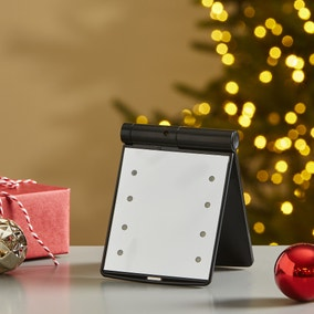 LED Pocket Folding Black Hollywood Mirror
