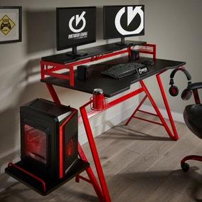 Carbon Fibre Effect Red Gaming Desk
