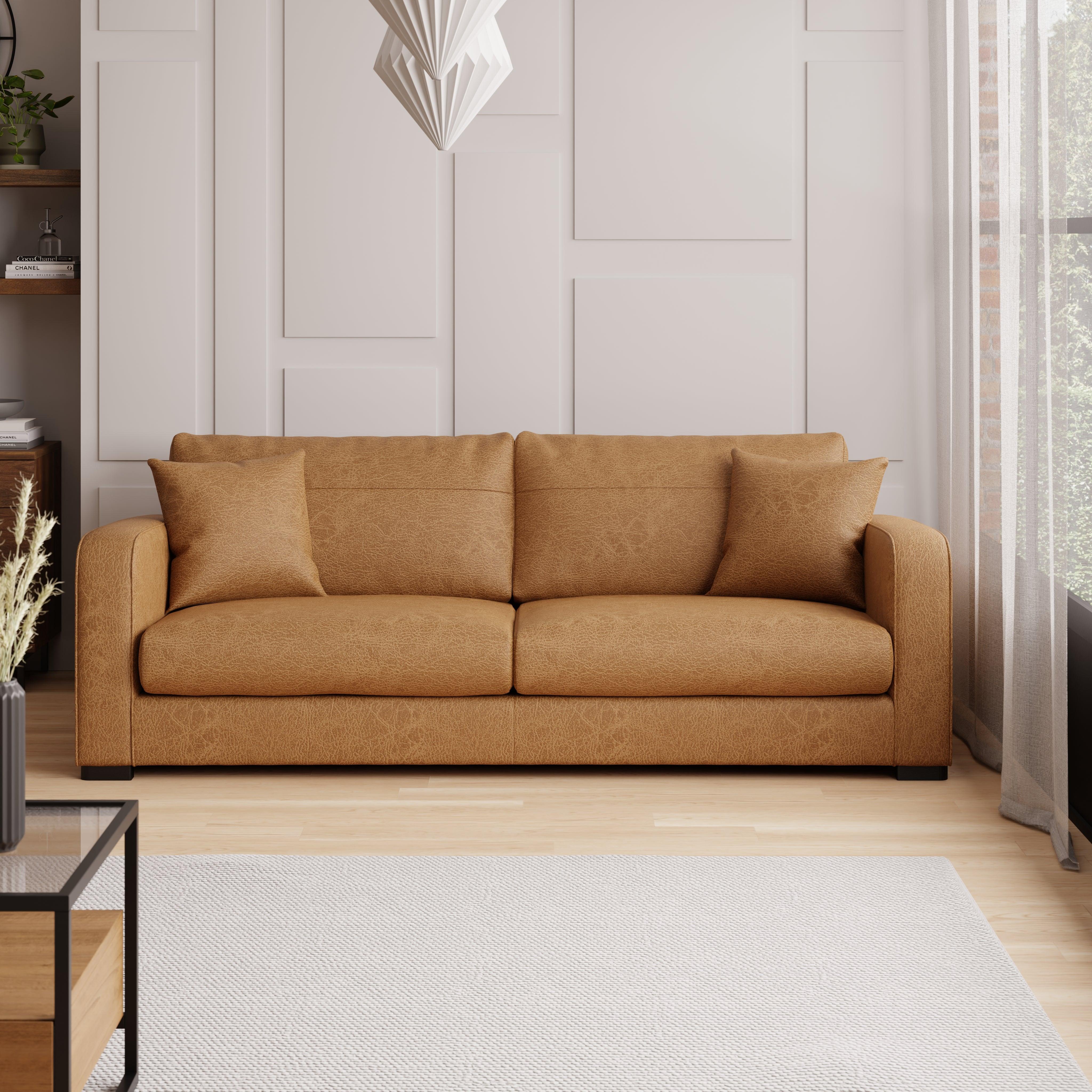 Carson Faux Leather 4 Seater Sofa Tan