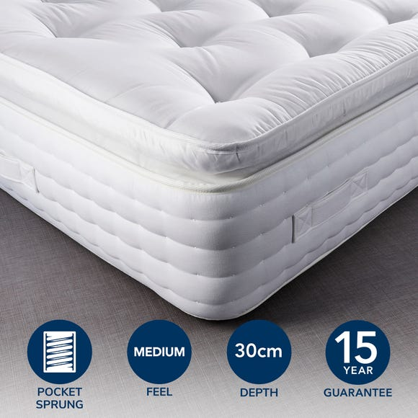 Hotel Pillow Top 1500 Pocket Sprung Mattress White undefined