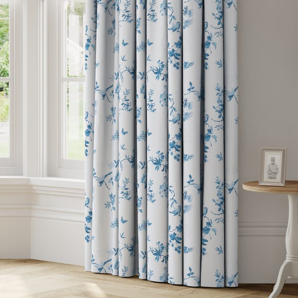 Birds and Roses Made to Measure Curtains Birds and Roses Blue
