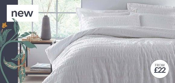 Aria Seersucker White 100% Cotton Duvet and Pillowcase Set >