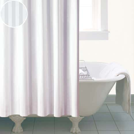 White Satin Stripe Shower Curtain Dunelm - Gray and white striped shower curtain