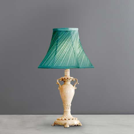 Duck Egg Twist Pleat Resin Table Lamp