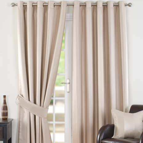 Monaco Natural Lined Eyelet Curtains