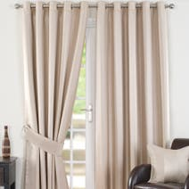 Natural Monaco Lined Eyelet Curtains