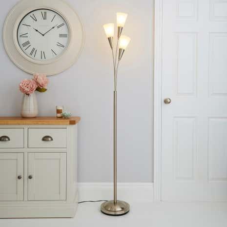 Marble glass chrome floor lamp