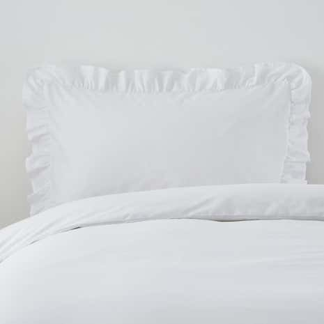 Non Iron Plain Dye Frilled Pillowcase