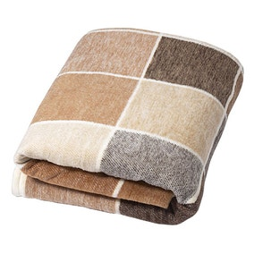 Thermosoft Latte Checked Blanket