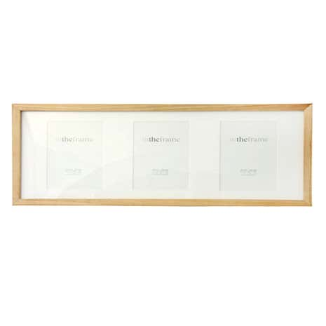 Brown 3 Aperture Box Photo Frame